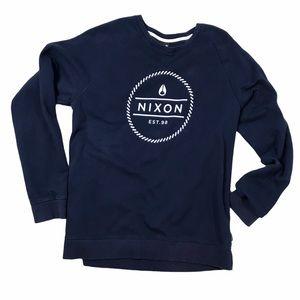 Nixon Logo Navy Blue Crewneck Sweatshirt